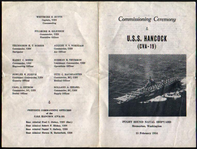 Recommissioning Ceremony Program cover